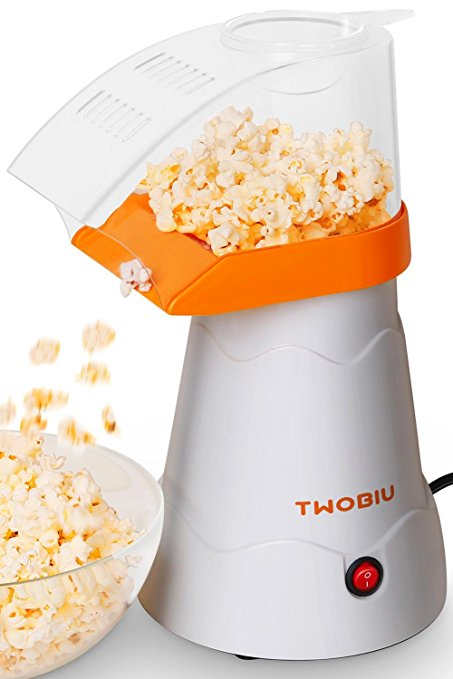 TWOBIU Popcorn Machine Hot Air Popcorn Popper